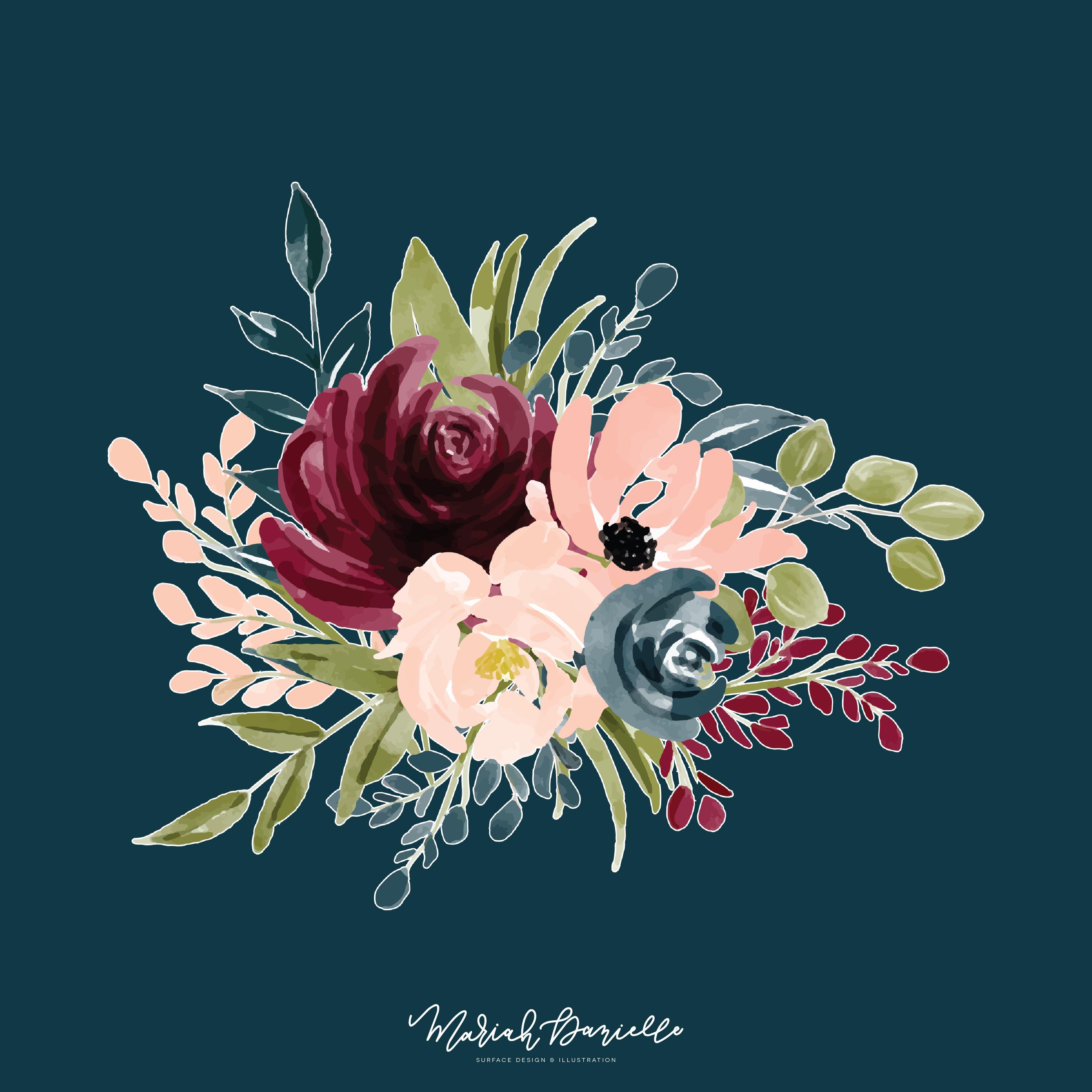 Burgundy & Navy Flower Graphic Set.