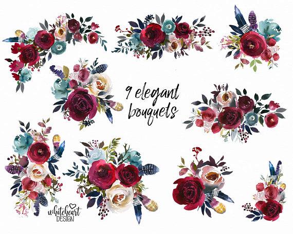 Boho Bordo & Navy Watercolor Floral Clipart Burgundy Red.