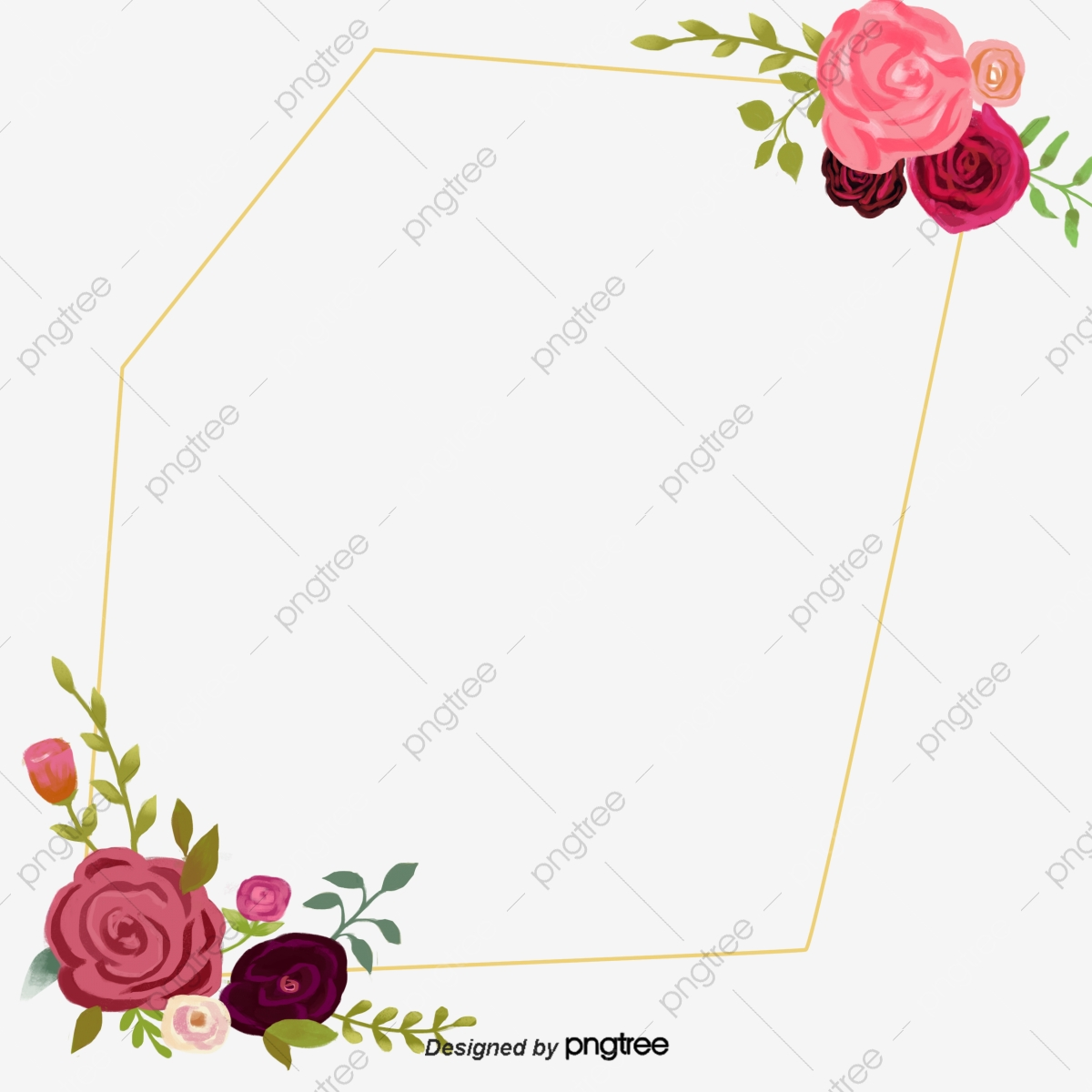 Dark Red Burgundy Decorative Border, Burgundy Flower, Card.