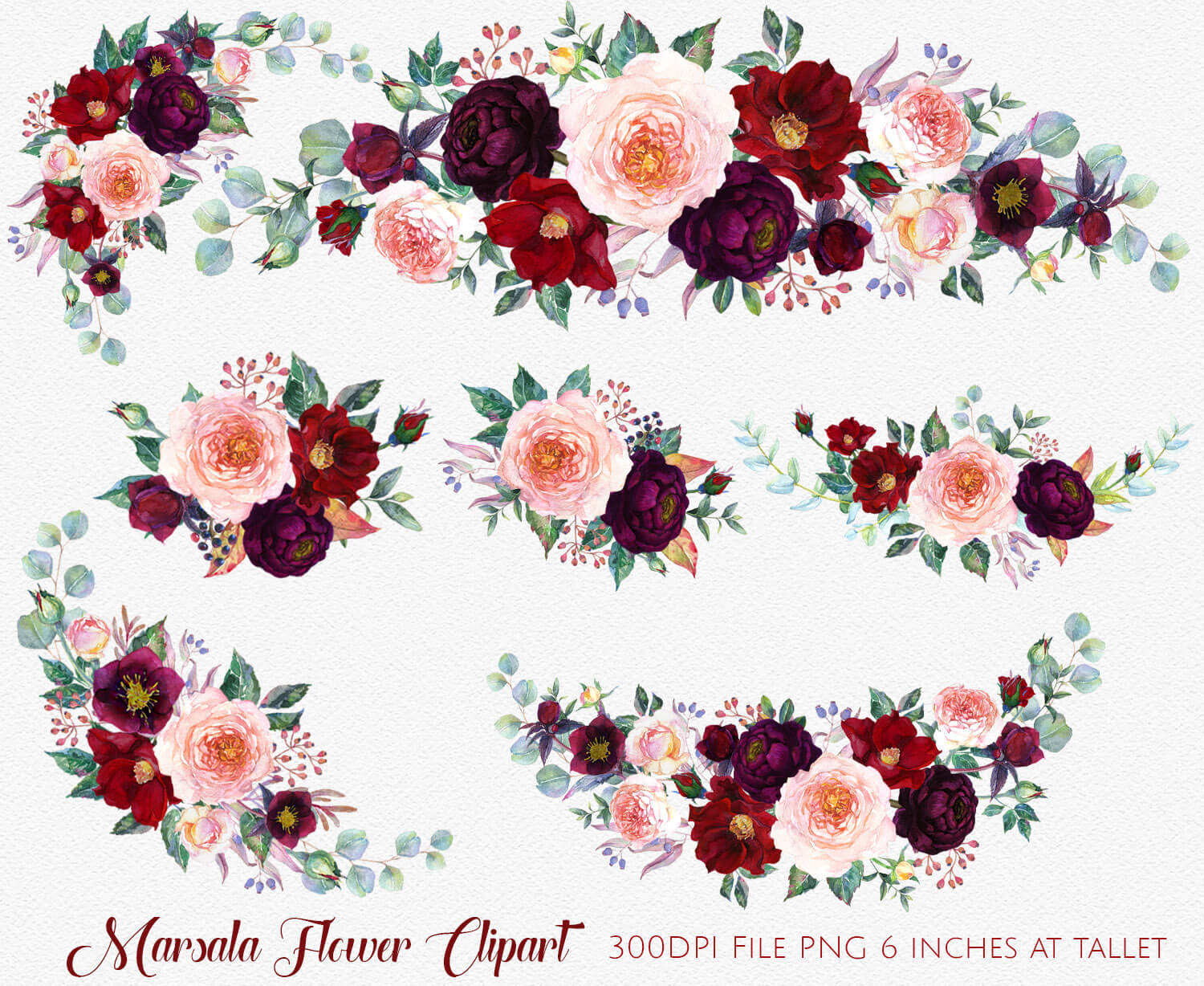 Marsala Clipart, Marsala and Navy Watercolor Flower, Marsala Floral  Clipart, Burgundy Red Navy Bouquets Watercolor Flower Clipart.