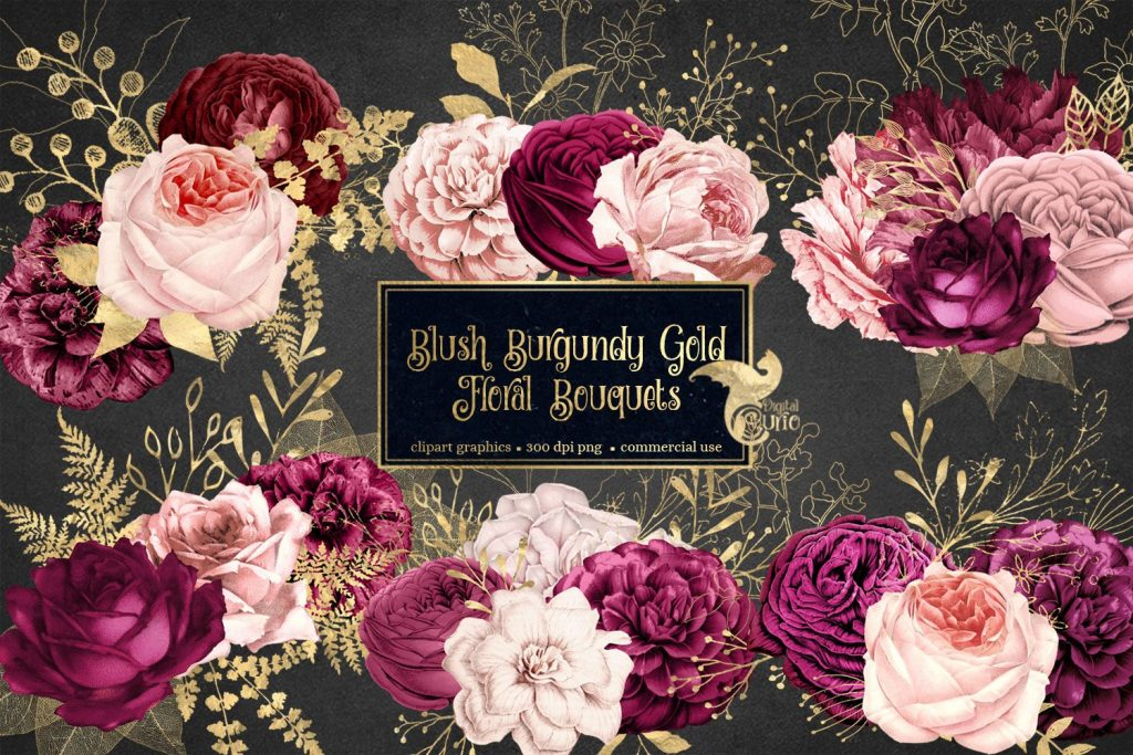 Blush Burgundy Gold Floral Bouquets Clipart.