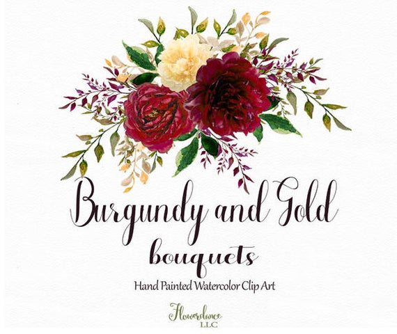 Burgundy and Gold watercolor clipart, burgundy flower clipart bouquets,  marsala, gold, rose, wine, bordo, bordeaux, gold peony, yellow.