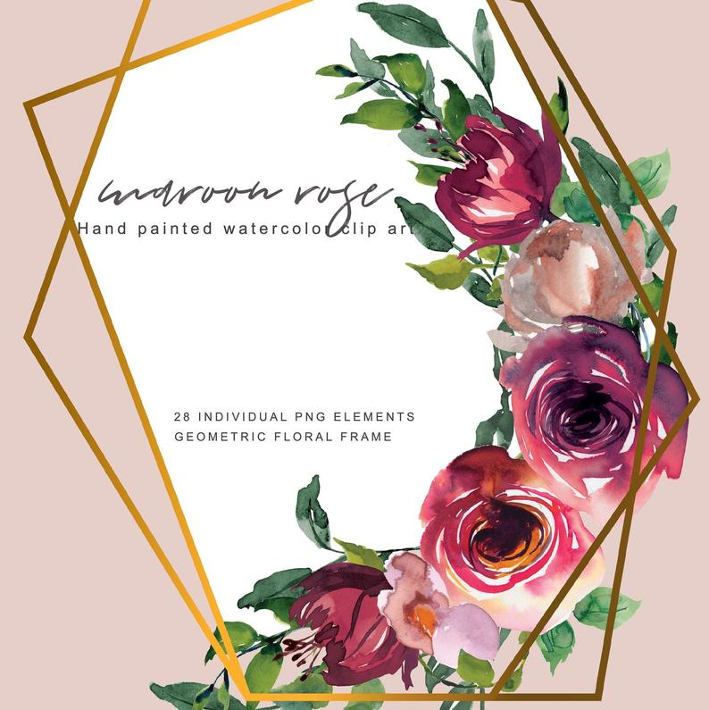 Maroon Rose Clipart Watercolor Burgundy Flower Clipart Individual Elements  Hand Painted Florals Gold Geometric Frame.