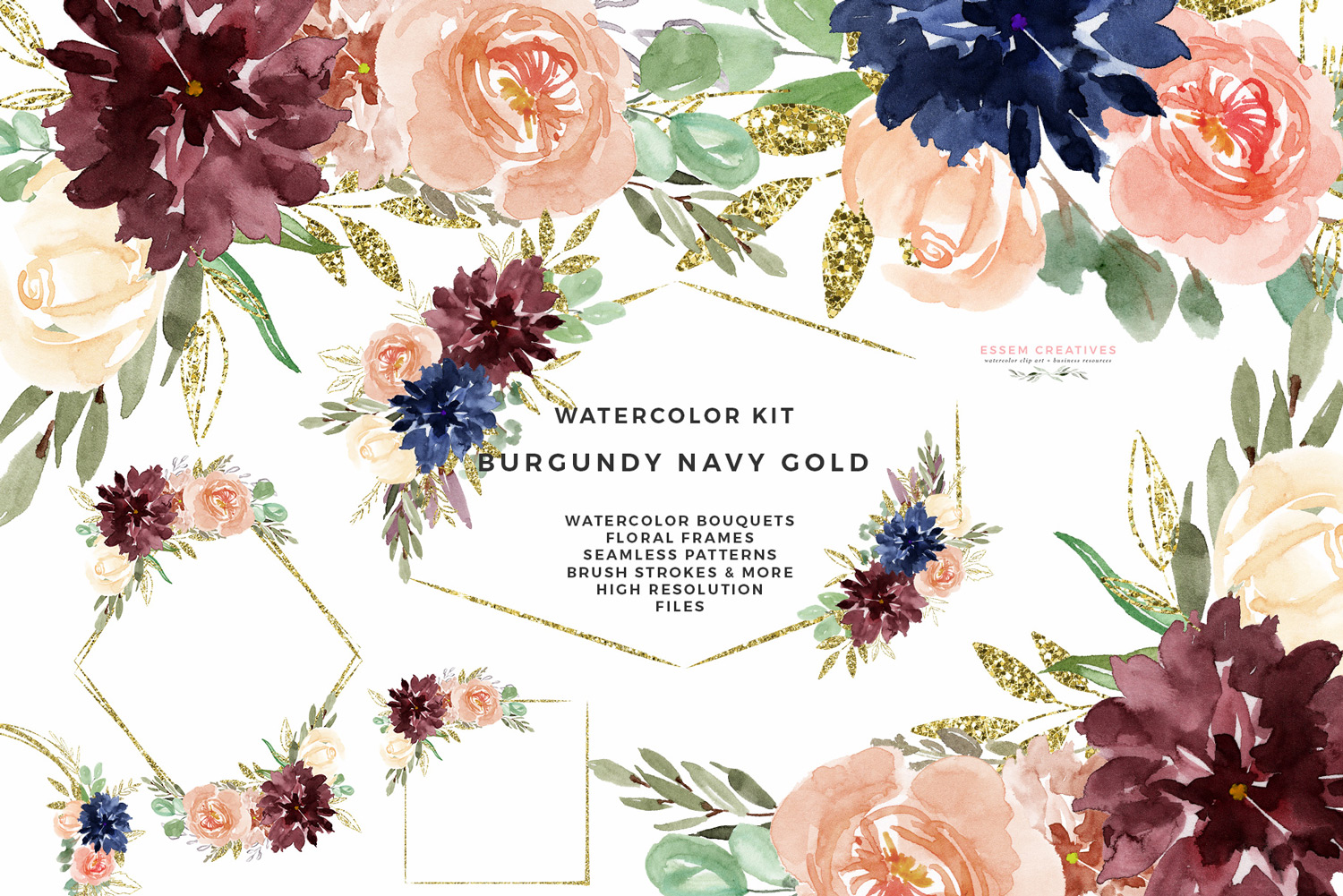 Burgundy Navy Gold Watercolor Flowers Clipart, Geometric Gold Glitter  Floral Frames Borders Seamless Patterns Digital Papers.