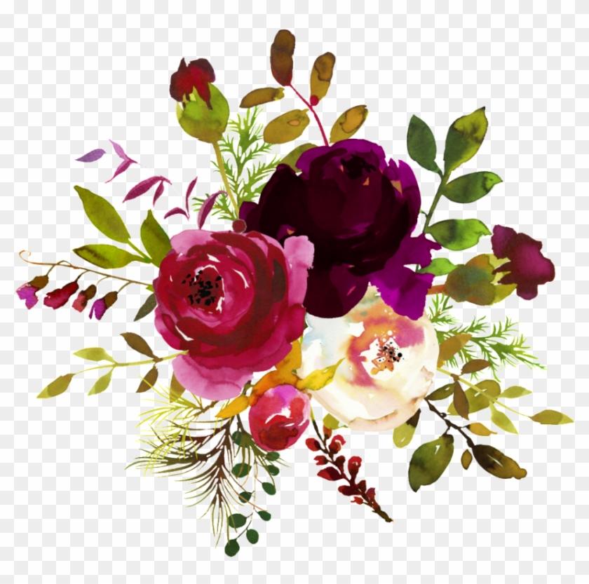 Free Png Burgundy Watercolor Flower Corner Borders.