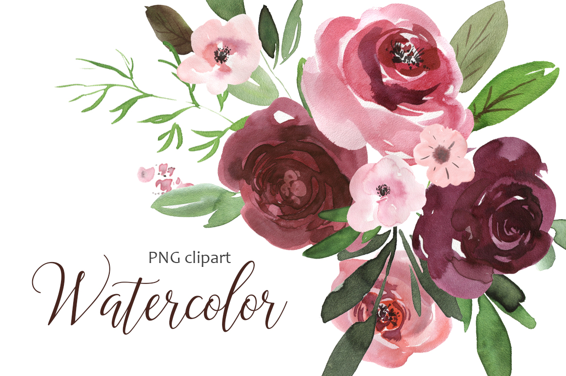 Watercolor pink & burgundy flowers clipart.