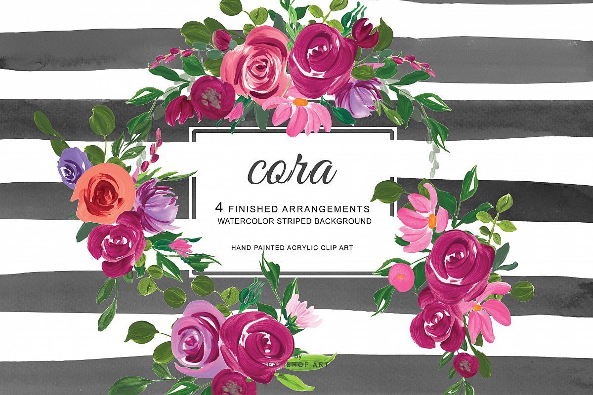 Hand Painted Acrylic Pink and Burgundy Flowers Arrangements Clipart  Watercolor Striped Background.