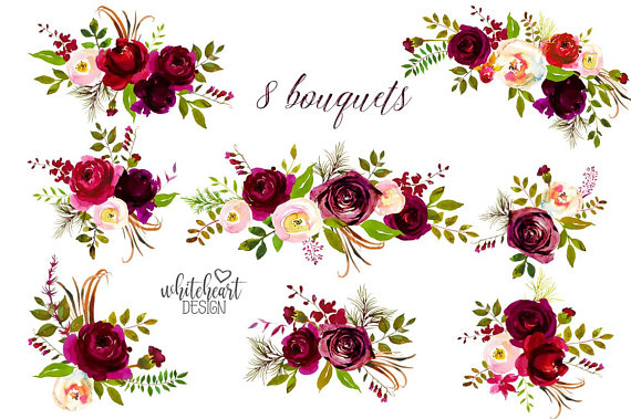 Bordo Flowers Watercolor Clipart Burgundy White Red Florals Bordeaux.
