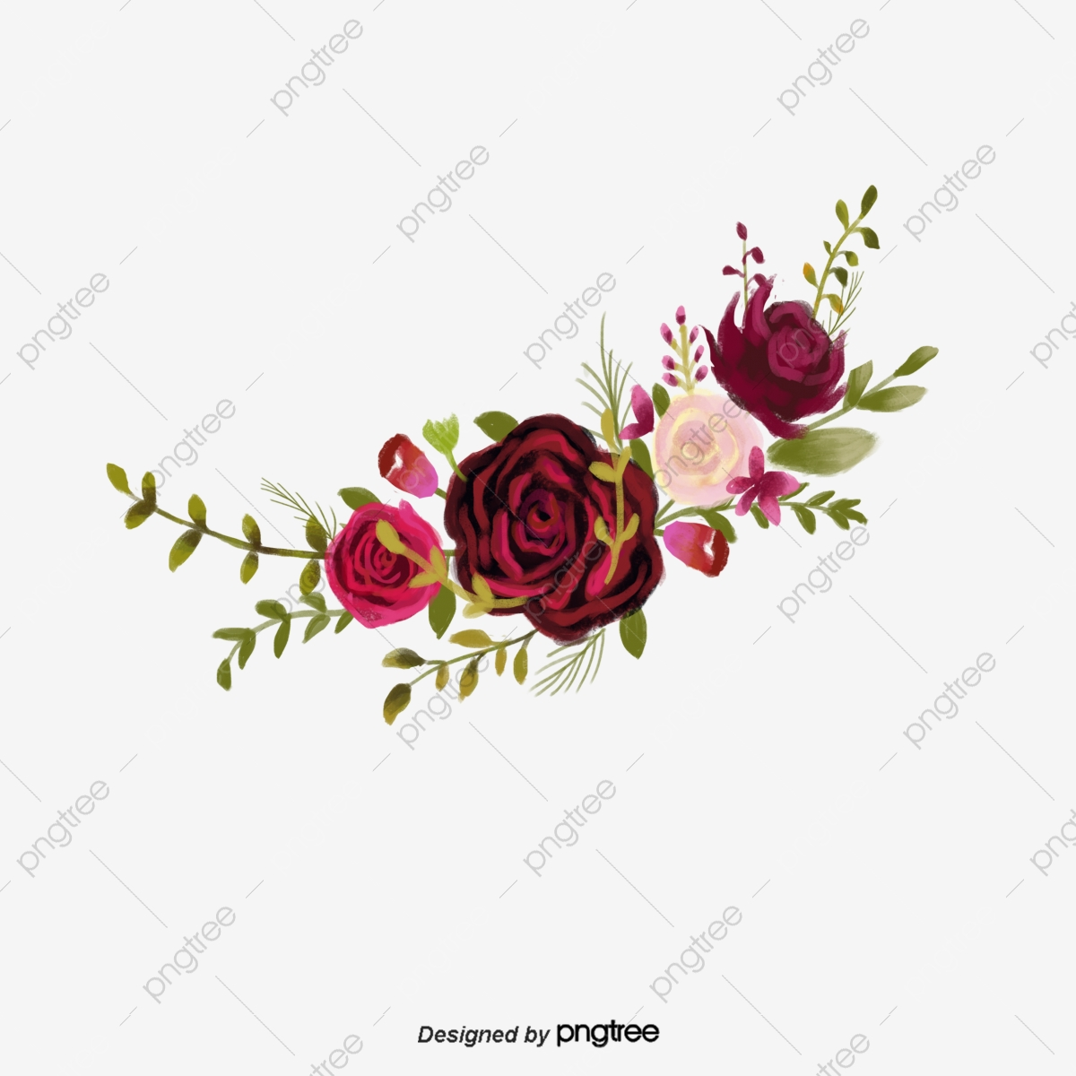 Dark Red Romantic Burgundy Flower Cluster Illustration Elements.