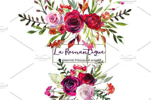 Burgundy Red Pink Flowers Clipart.