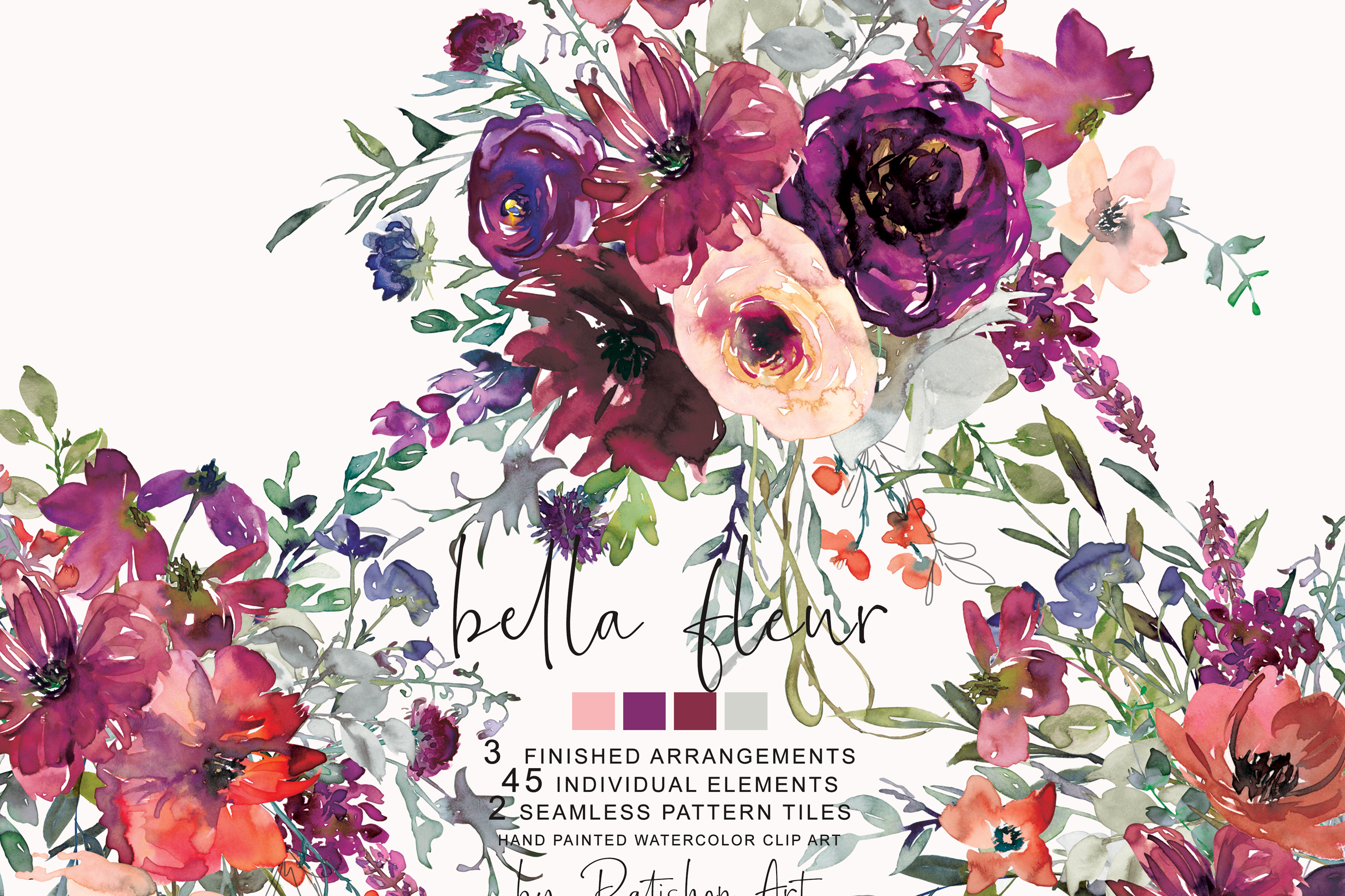 Watercolor Purple Burgundy Flowers Arrangement Clipart.