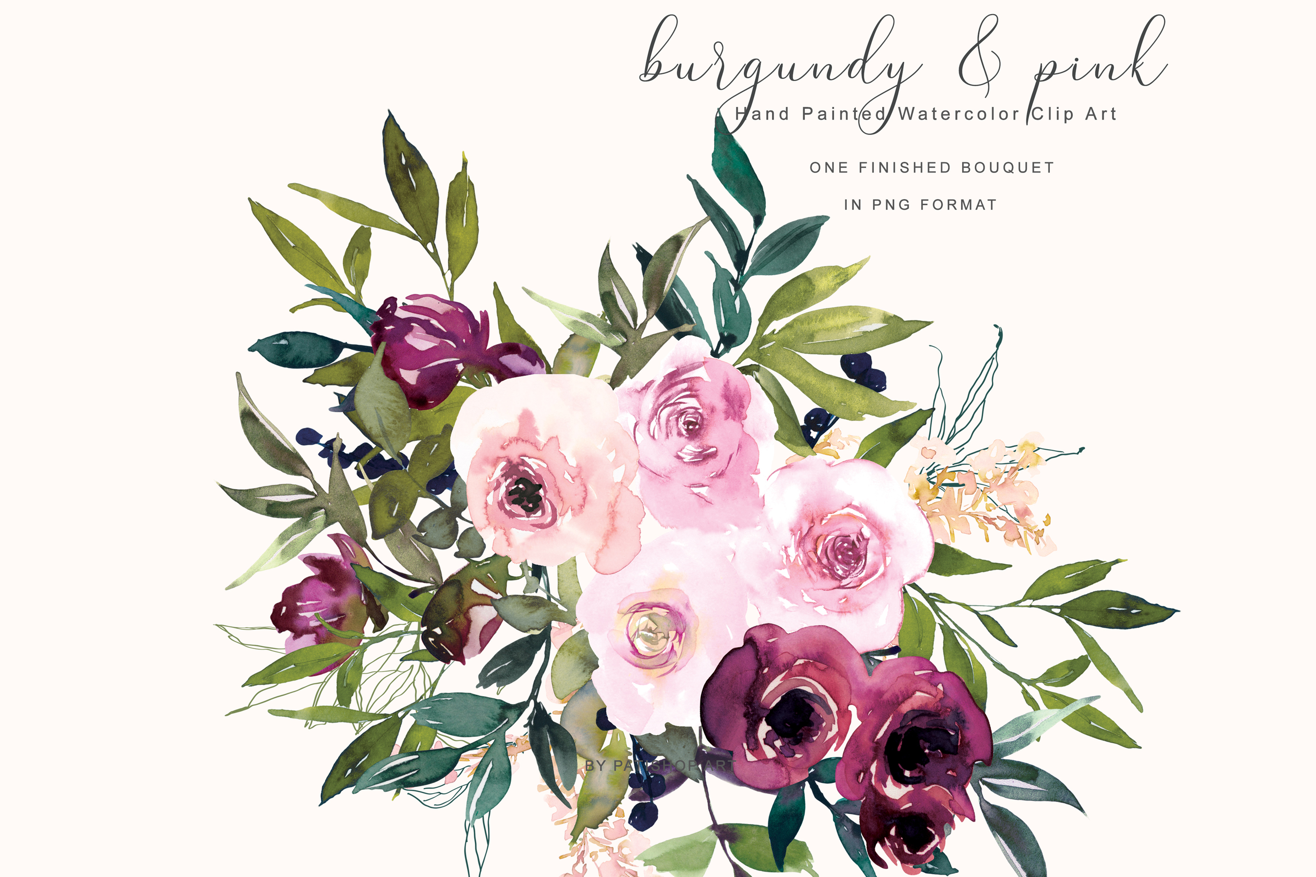 Watercolor Burgundy and Pink Flower Clipart.