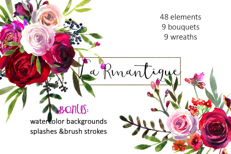 Burgundy Red Pink Flowers Clipart ~ Illustrations ~ Creative Market.