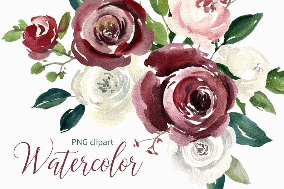Vintage Watercolor Roses Flowers PNG.