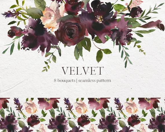 Velvet Bordo Pink Watercolor Floral Bouquets Clipart Burgundy Red Pink  Flowers PNG Arrangements Wedding Clip Art Wine Colors Indigo Pattern.