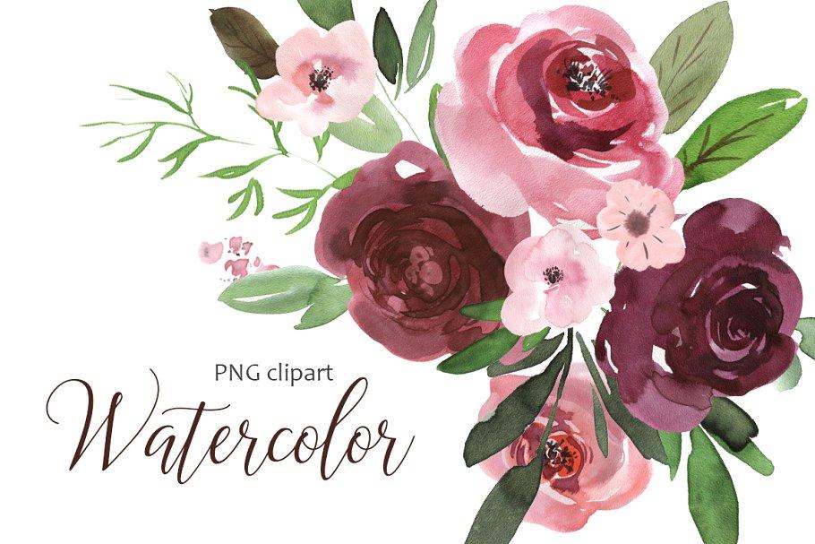 Watercolor pink & burgundy flowers.