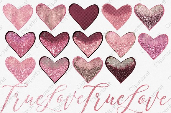 Pink & Burgundy Hearts Love Graphics.