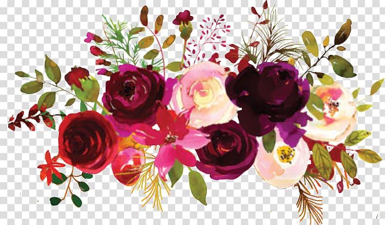 Pink and red flowers illustration, Garden roses Floral design Flower.