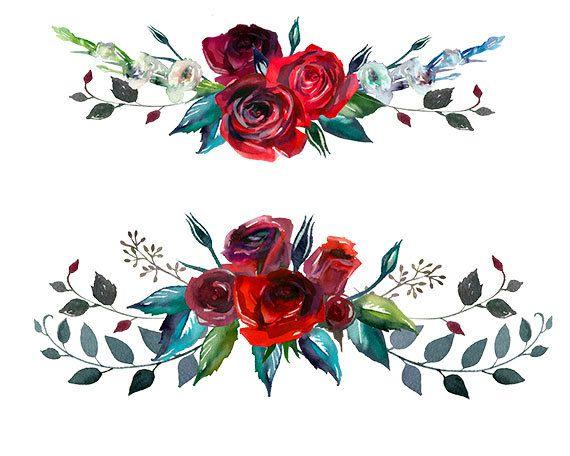 Burgundy Red Scarlett Roses PNG Wedding Flowers Invitation Clipart.