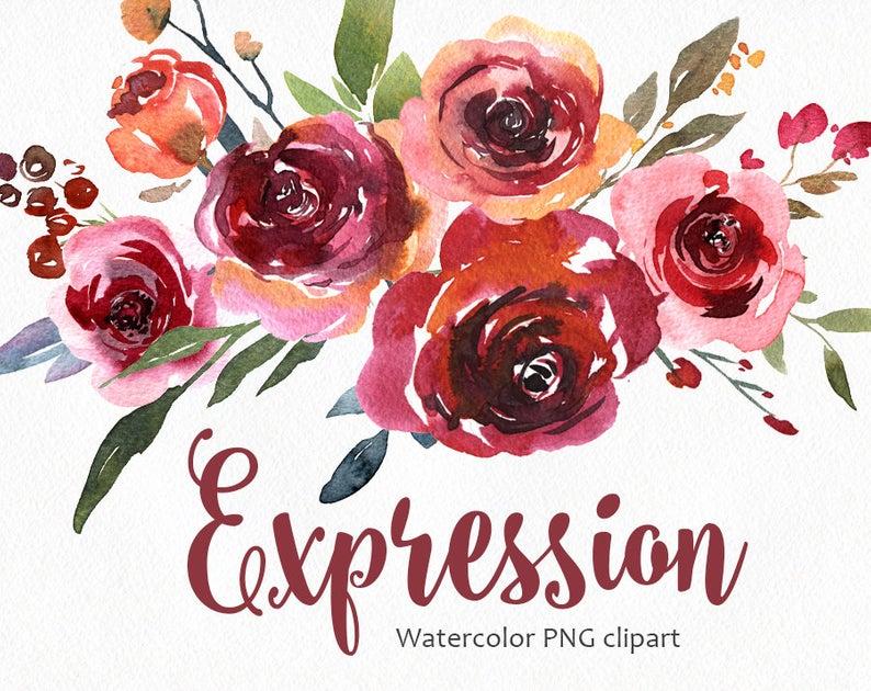 Watercolor Flower Clipart PNG Burgundy Vintage Boho Retro Floral Old  Digital Instant Download Free Commercial Use Aquarelle Flowers Clip Art.