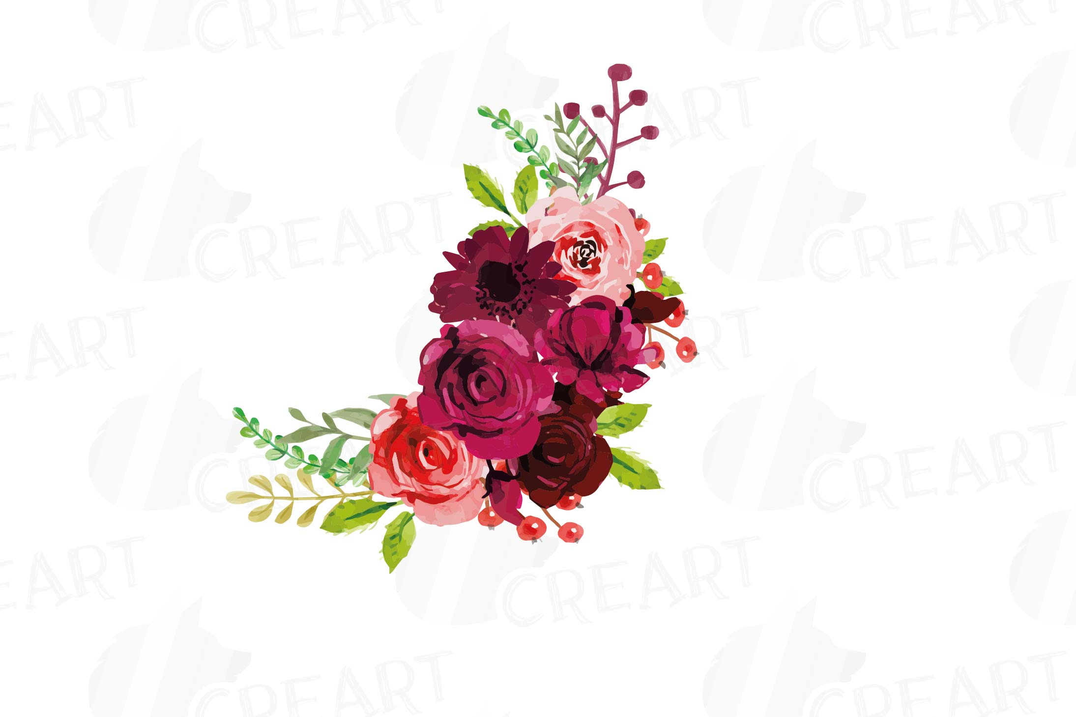 Boho Burgundy Red Watercolor clip art, floral bouquets png.