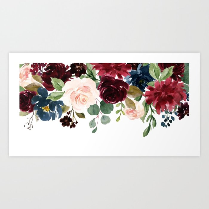 Burgundy Watercolor Flowers at PaintingValley.com.