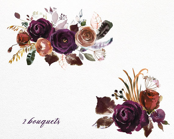 Boho Bordo Purple Plum Watercolor Floral Clipart Burgundy Purple.