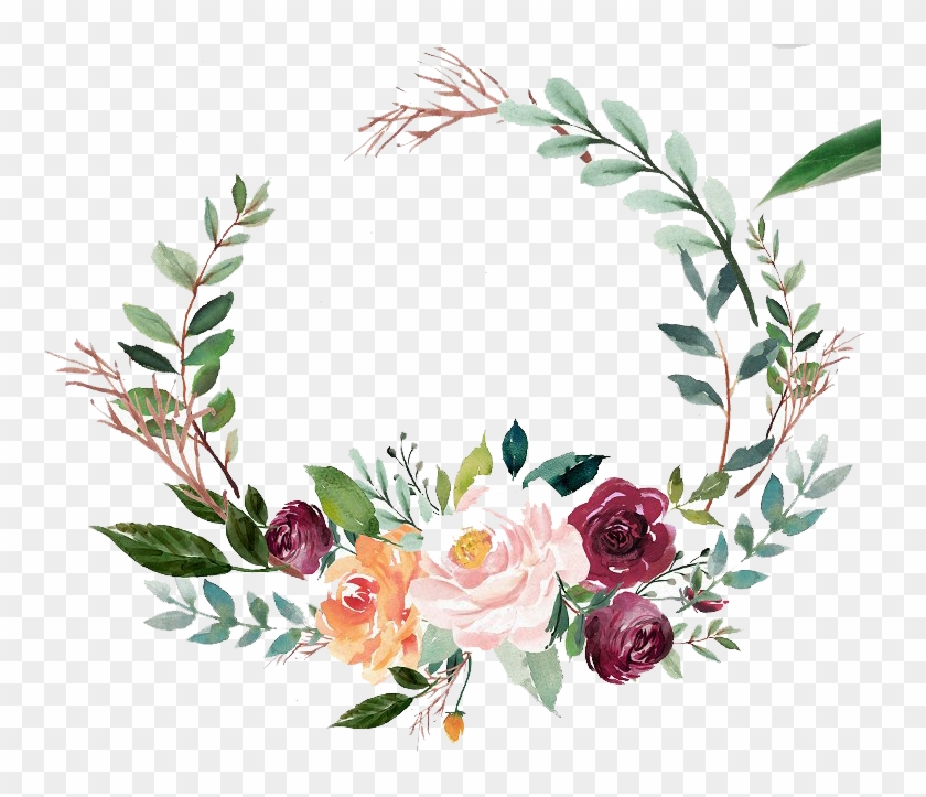 Green Watercolor Wreath With Flowers.