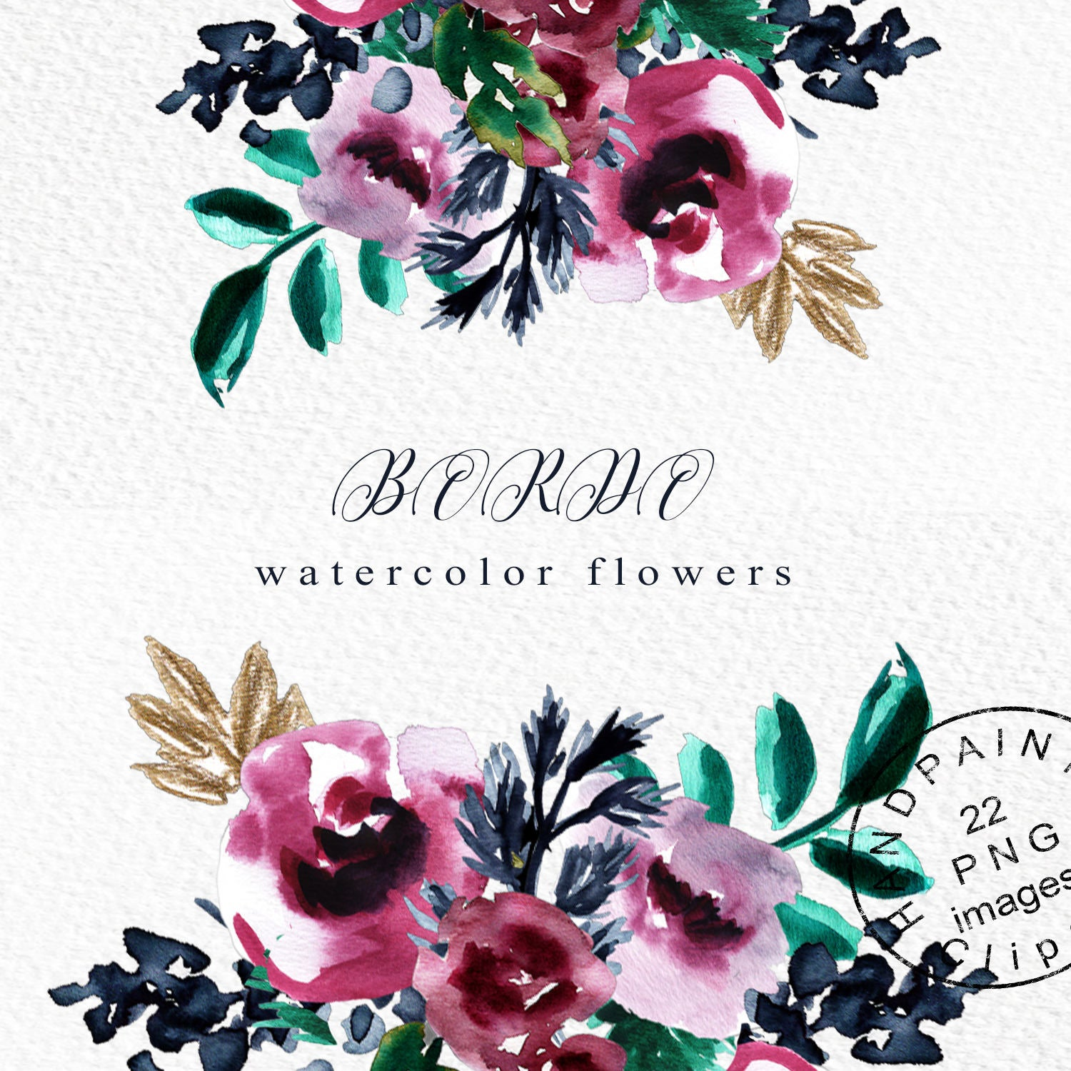 Floral Png, Burgundy Flowers, Floral Watercolor Clipart, Watercolor Flower  Clipart, Watercolor Flowers Png, Burgundy Floral Clipart.