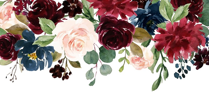 Burgundy Blue Watercolor Flowers Border.
