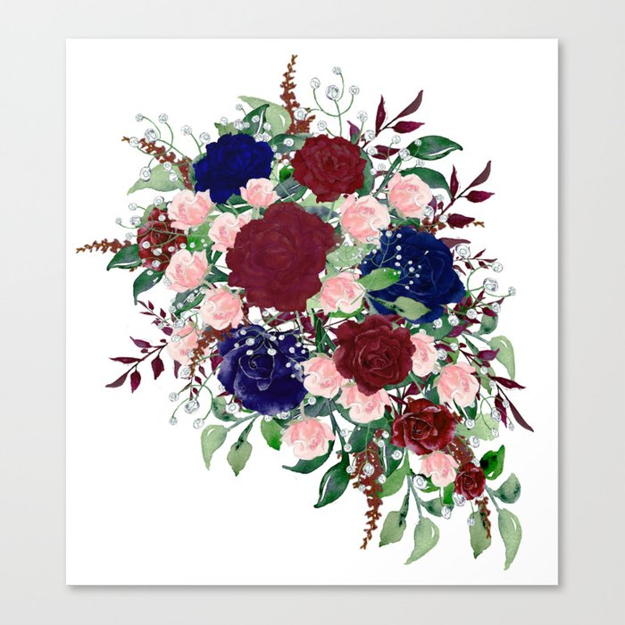 Navy Burgundy Watercolor Flower Bouquet Delicate Colorful Canvas Print by  colorflowcreations.