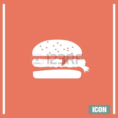 Hamburger Vector Icon. Fast Food Sign. Burget Symbol Royalty Free.