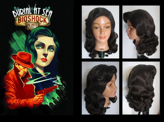 Bioshock Elizabeth vintage noir wig Burial at Sea by MulletOver.