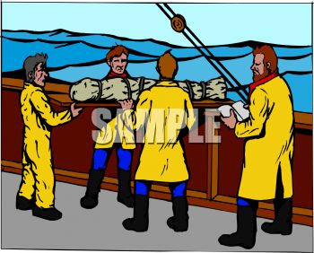 Royalty Free Clipart Image: Sailors Performing a Burial at Sea.
