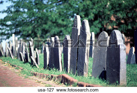 Picture of Headstones at Copp's Hill Burial Ground Boston USA usa.