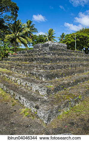 Stock Photo of Tia Seu Lupe, burial mound, American Samoa, Oceania.