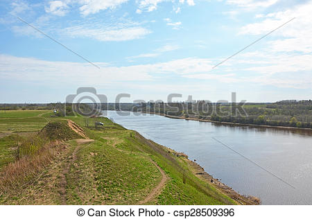 Stock Photographs of Volkhov river valley with Burial mound.