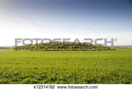 Clip Art of Neolithic burial mound, Cranborne Chase, England.
