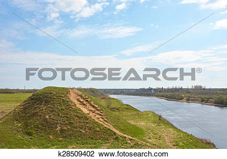 Stock Photo of Volkhov river valley with Burial mound. Russia.