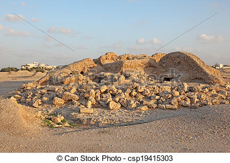 Stock Photography of Dilmun Burial Mounds in A'ali. Kingdom of.