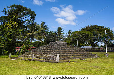 Stock Photo of Tia Seu Lupe, burial mound, American Samoa, Oceania.
