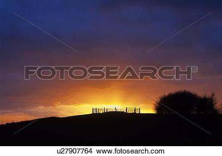 Stock Photo of England, Hampshire, Stockbridge. Silhouette of a.