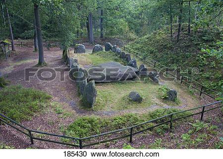 Stock Photography of Sieben Steinhaeuser. Neolithic burial mound.