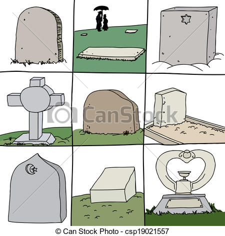 Clipart Vector of Series of Grave Stones.
