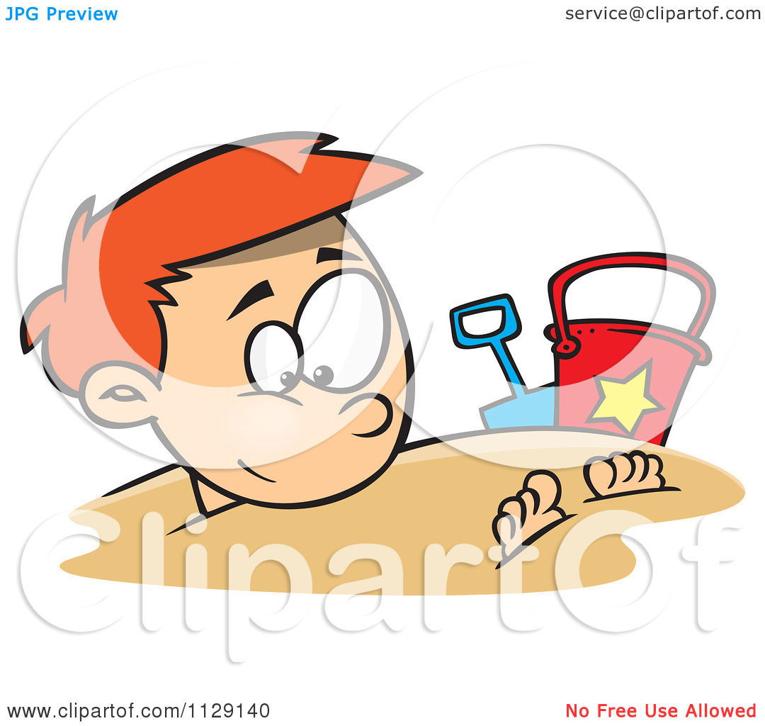 Cartoon Of A Happy Red Haired Boy Buried In Beach Sand.