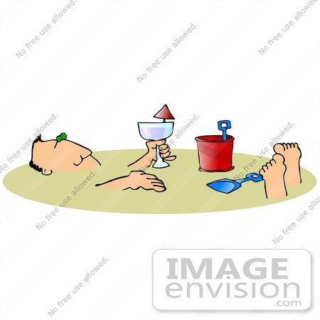 Clip Art Graphic of a Man Drinking Wine And Soaking Up The Sun.