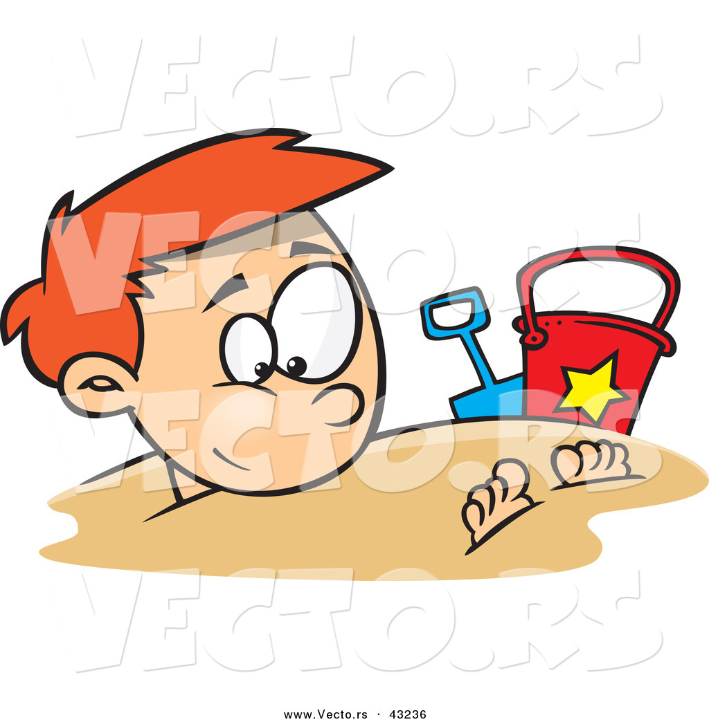 Vector of a Cartoon Boy Buried Under Beach Sand by Ron Leishman.