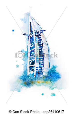 Clipart of watercolor drawing of Dubai hotel. Burj Al Arab.