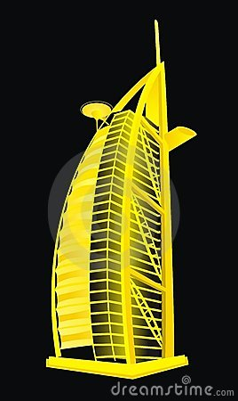 Dubai Burj Al Arab Hotel Stock Illustrations.