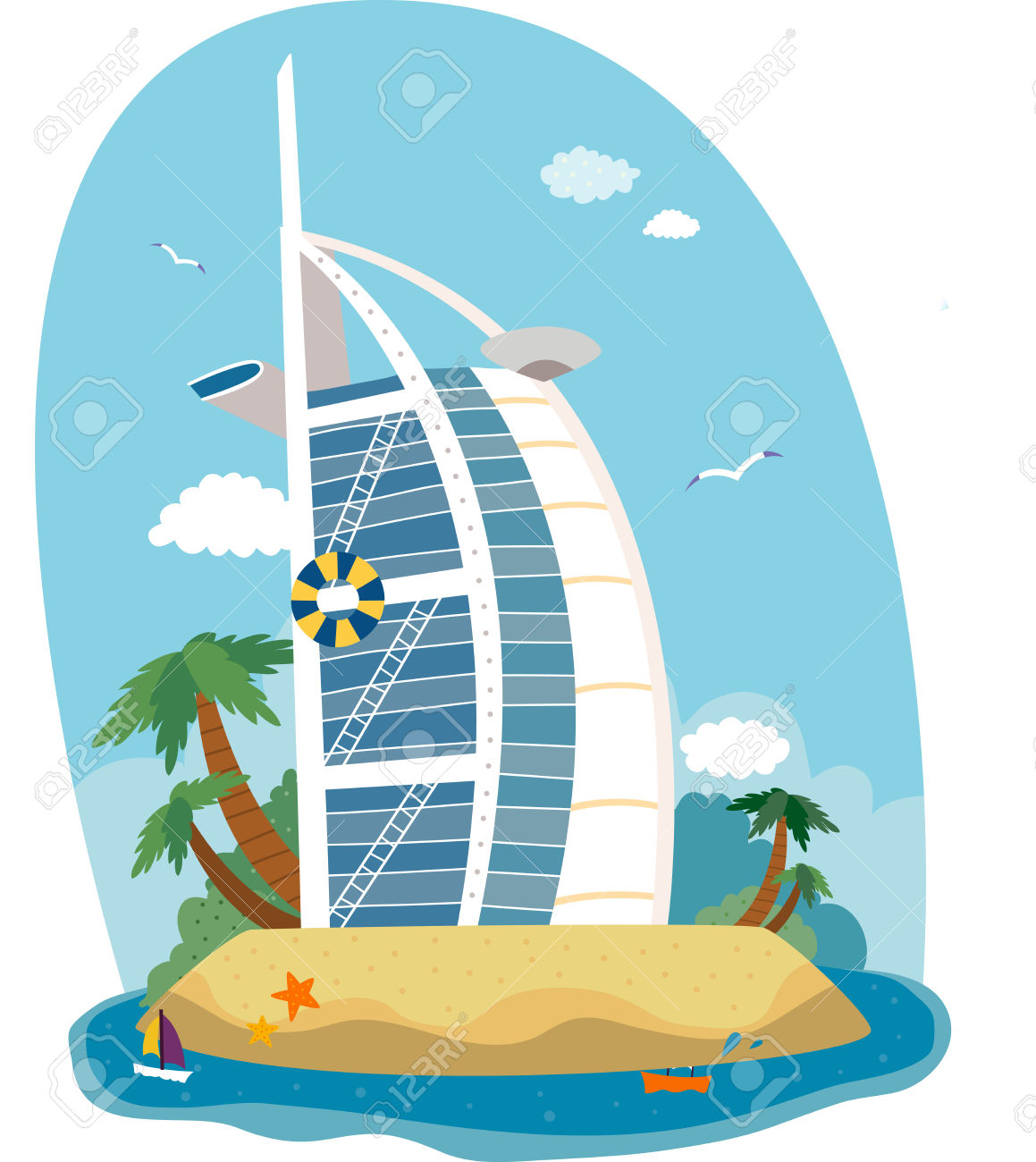 Burj al arab hd clipart.